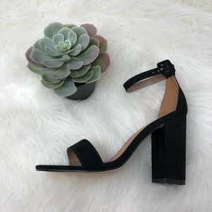 Urban Outfitters Black Suede Strappy Sandal Heel